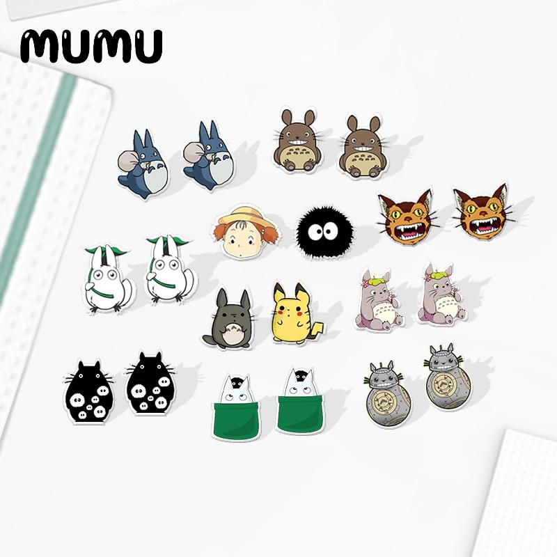 2020 New My Neighbor Totoro Mei Earring Handamde Acrylic Earring Shrinky Dinks Stud Earrings Cute Dust Elf Epoxy Jewelry
