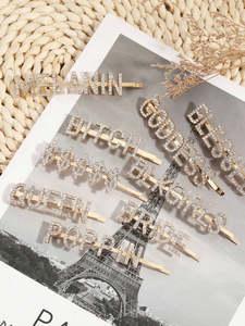 Hair-Clip Bobby-Pin Letter Alphabet Word Rhinestone Crystal Gold Girls Fashion Shiny