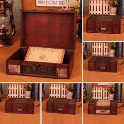 Retro drewno kwiat lotosu szkatułka na biżuterię pudełko typu organizer z zamkiem