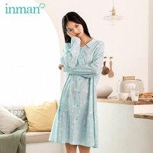 Dress Pajamas Long-Sleeve Home-Wear Women' Autumn INMAN Cotton Spring Outing Loose Leisure