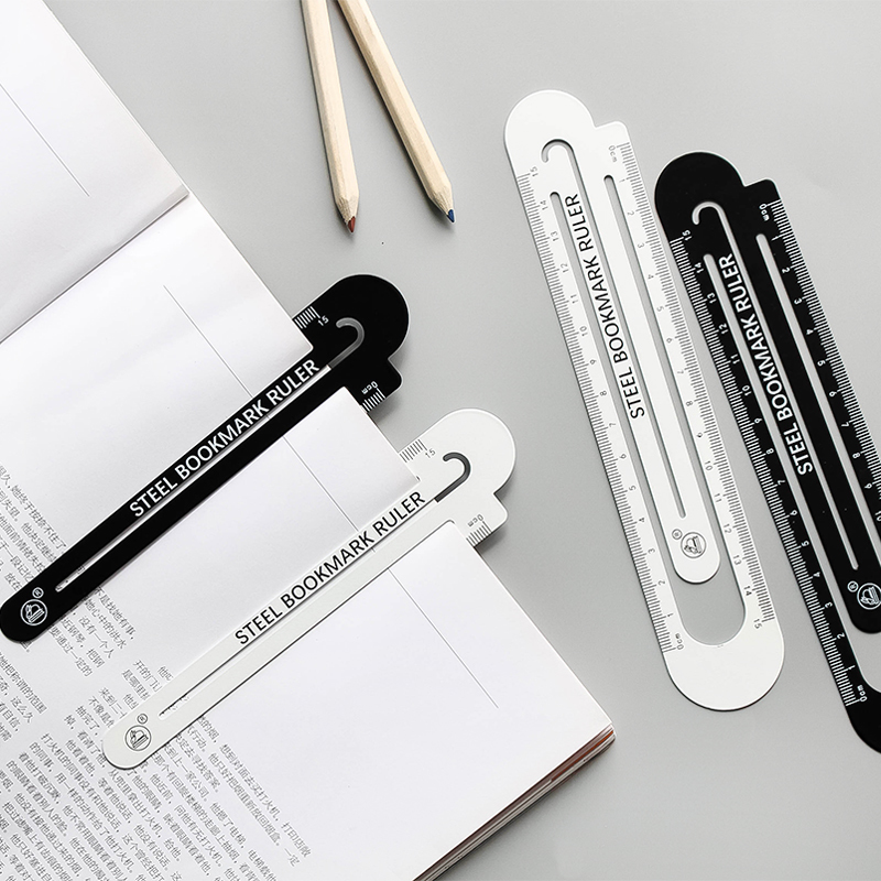 1pcs 12/15/18cm Bookmarkable Classic Black And White Ruler Double-sided Student Ruler Iron Ruler