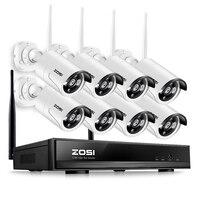 ZOSI 8CH CCTV inalámbrico sistema HD 960P NVR kit con al aire libre IR Cámara nocturna IP Cámara wifi SISTEMA DE SEGURIDAD DE VIGILANCIA Kits