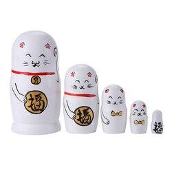 5 Слои деревянная матрешка Русская Куклы белого котенка куклы для детей ручная работа Декор Muñecas русские anidadas