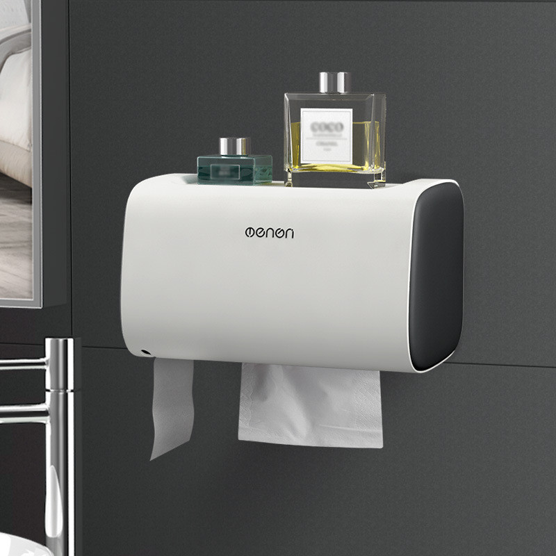Wall Mounted Toilet Paper Holders Adjustable Double Layer Shelf Bathroom Waterproof Tissue Box Portable Paper Storage Box