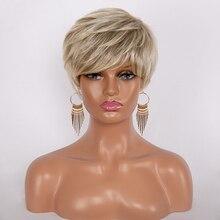 GRES блонд боб парик с челкой смешанные цвета короткие женские парики высокотемпературное волокно Peruca косплей синтетические волосы