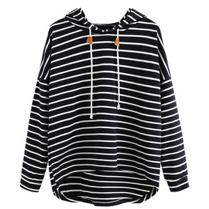 Lace Up Drawstring Women Plus Size Stripe Casual Sweatshirt Long Sleeve Crop Jumper Pullover Tops Sweat Shirts Hoodies Sweat