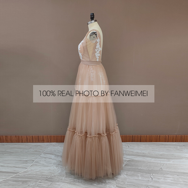 Boho Deep Sexy V Neck Sleeveless Backless Bridal Beach Tulle Lace Floor Length A-Line Champagne Wedding Dress Bridal Gown 5