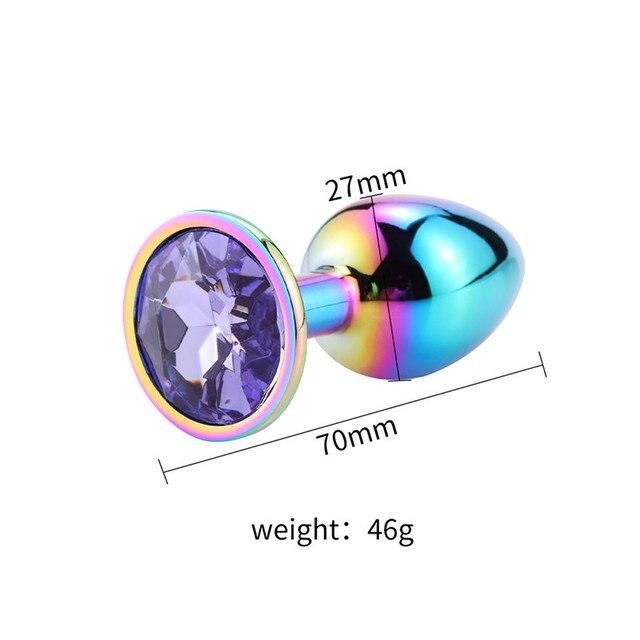 Size Rainbow anal plug rainbow diamond light violet