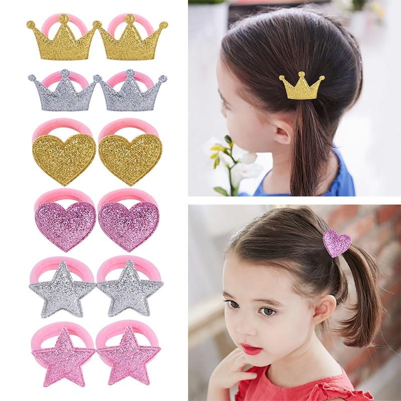 New 1Pair Hair Bands Princess Star Golden Elastic Children Crown Hair Ropes Adjustable Baby Headdress Heart Hair Accessories