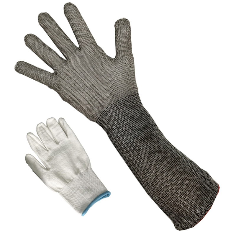 AMS-Stainless Steel Wire Braided Gloves Cut-Proof Protection Mesh Work Gloves Men'S Long Section
