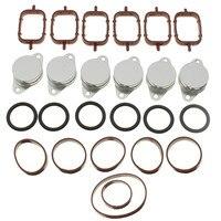 Set of 6 32 33mm Swirl Flap Blanking Plates Seal With Intake Manifold Gasket 6 Cylinder For BMW E38 E39 E46 E53 E60 E65 E70 E71