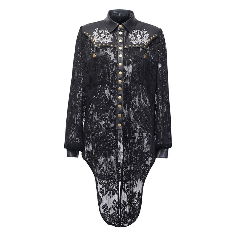 Rosetic Sexy Lace PU Leather Jackets Coat Women  Black See Through Tops Skull Print Fashion Punk Rivet Streetwear Outerwear