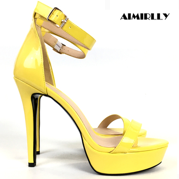 Women's Shoes High Heels Sandals Platform Female Shoes Summer Cover Heels Ankle Strap Patent Leather Green Yellow Aimirlly