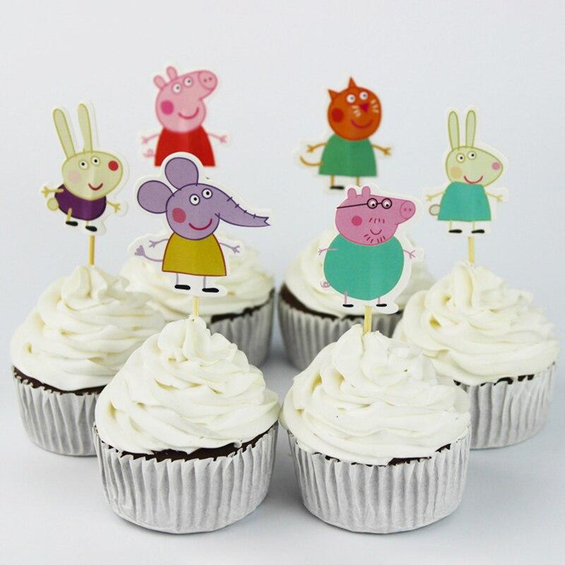 24Pcs Peppa Pig Birthday Supplies Cake Card Fruit Plug-in Children Birthday Party Decoration Wedding Birthday Party Gifts 2P13