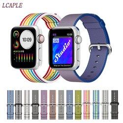 Correa tejida de nailon deportiva para apple watch, 4 bandas, 44mm, iwatch, correa de 42mm, 40mm, correa de 38mm, correa de reloj para apple watch 5 4 3