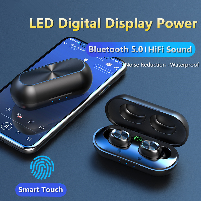 True TWS Bluetooth Earphones Fingerprint Touch HD Stereo Mini Wireless Headphones Noise Cancelling Gaming Headset Microphone tsw