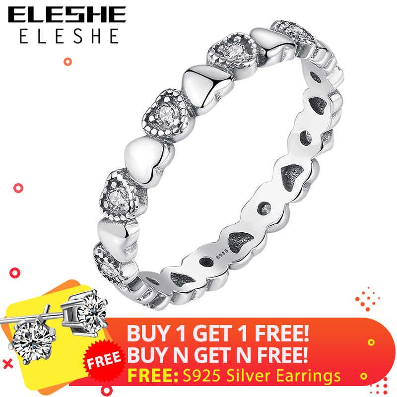 ELESHE New Fashion Finger Rings Clear CZ Crystal Heart Rings Female 925 Sterling Silver Ring for Women Wedding Authentic Jewelry