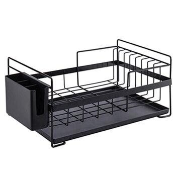 Kitchen Storage Organizer Dish Drainer Drying Rack Kitchen Sink Holder Tray For Plates Bowl Cup Tableware Shelf Basket Black
