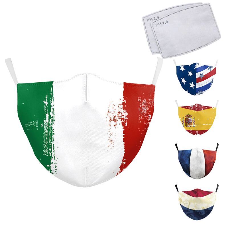 Multicolor Art National Flag Printed Masks Adults Protective Windproof Anti Dust Breathable PM2.5 Reusable Washable Masks