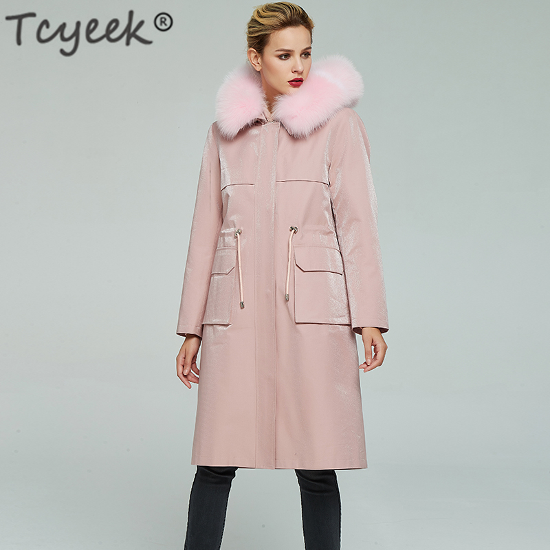 Jacket Coats Hooded Real-Fur-Coat Streetwear Natural Winter Women Long Tcyeek 9301 Liner
