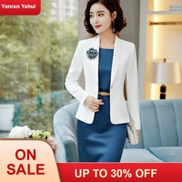 Professional Dress Suits With 2 Piece Tops And Dress For Office Ladies Blazers & Jackets Sets Elegant White Fall Winter