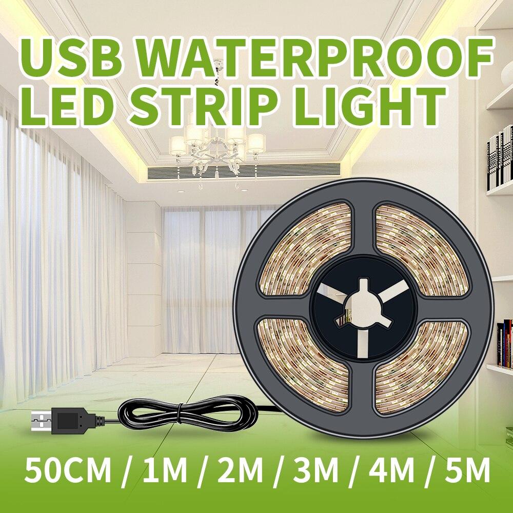 Tira de luces LED impermeable para exteriores, 0,5 M, 1M, 2M, 3M, 4M, 5M, IP65, 2835 DC5V, 60Leds/M, barra de luz Flexible para el hogar, lámpara de luz interior