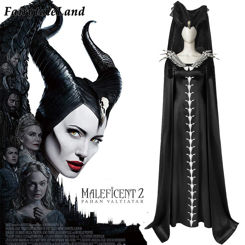 Maleficent Costume Hot Movie Cosplay Mistress Of Evil Carnival Halloween Skull Dress Maleficent Horns Angelina Jolie Outfit