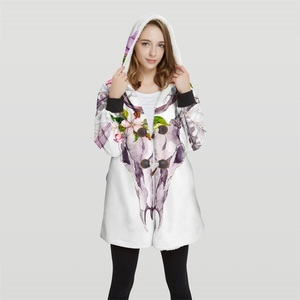 Image 3 - 2019 Bomber Womans Plus Size 3d Print Convertible Hoodie Jackets 100% Polyester Tops Soft Jacket Woman Customer Design Wy21