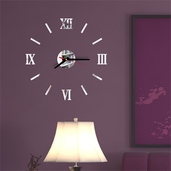 Наклейки На Стену 3d Diy Roman Numbers Acrylic Mirror Wall Sticker Clock Home Decor Mural Decals Wall Clock Modern Design 1