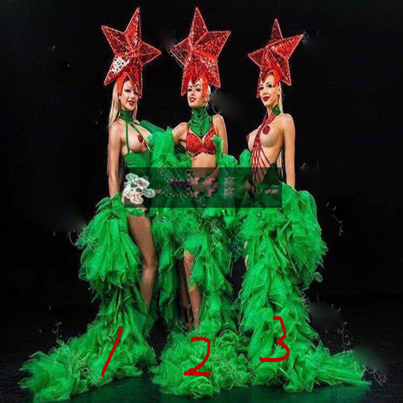 bar GOGO sexy red pentagram green veil costume Christmas star costumes party girl stage show wears