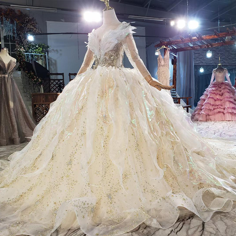 HTL1837 Luxurious Sequined Beading Wedding Dress 2020 V-Neck Three Quarters Sleeve Applique Ball Gowns Crystal 3