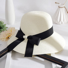 New simple Hat Women Summer Beach Black and White Ribbon Hat Bow Raffia Hat Temperament Flat Straw Hats Women's Sea Beach Hat stylish bow band white match black hipsters straw hat for women