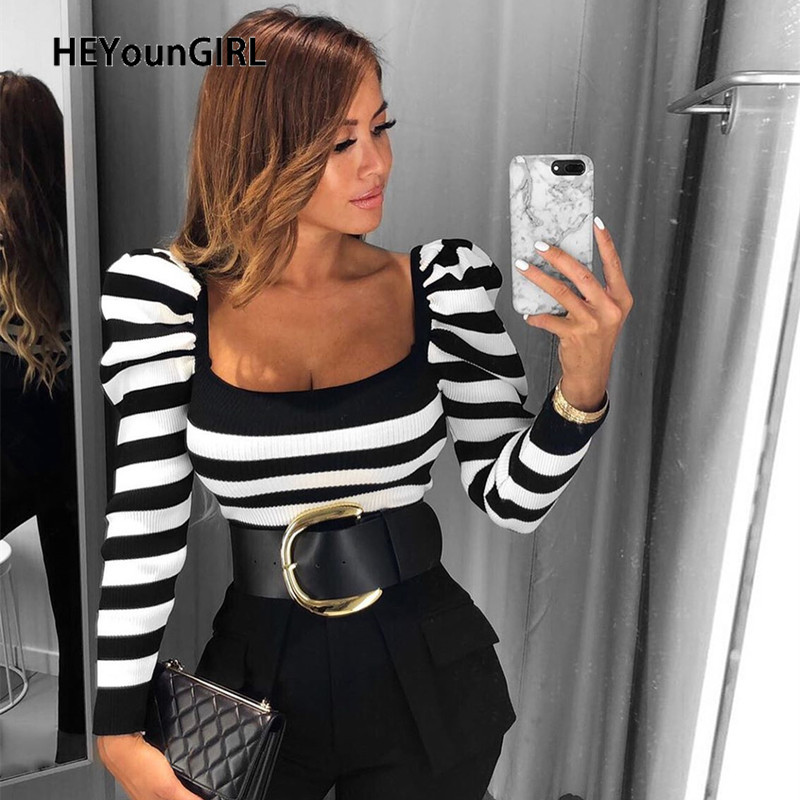 HEYounGIRL Striped Puff Sleeve Elegant T-shirt Ladies U Neck Black White Tee Shirt Women Casual Long Sleeve Crop T Shirt Office