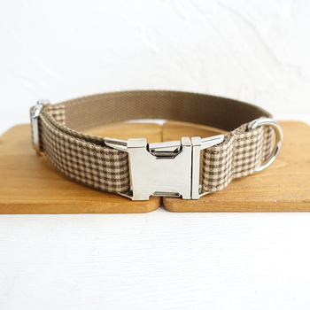 Pretty Handsome dog collars and leashes set 5 sizes Handmade soft pet accessory THE COFFEE PLAID UDC072 image
