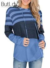 Striped Stitching Hoodies Women Hooded Drawstring Loose Sweatshirt 2019 Autumn Winter New Style Long Sleeves