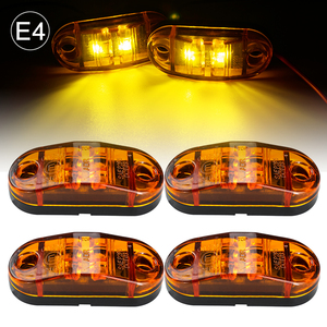 Image 1 - 4x 12V/24V Oval LED Side Marker Lights Lamp Universal Indicator of Position with Amber Bulbs for Truck Trailer Van Lorry Car Bus