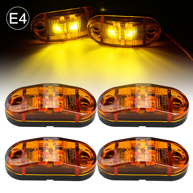 4x 12V/24V Oval LED Side Marker Lights Lamp Universal Indicator of Position with Amber Bulbs for Truck Trailer Van Lorry Car Bus