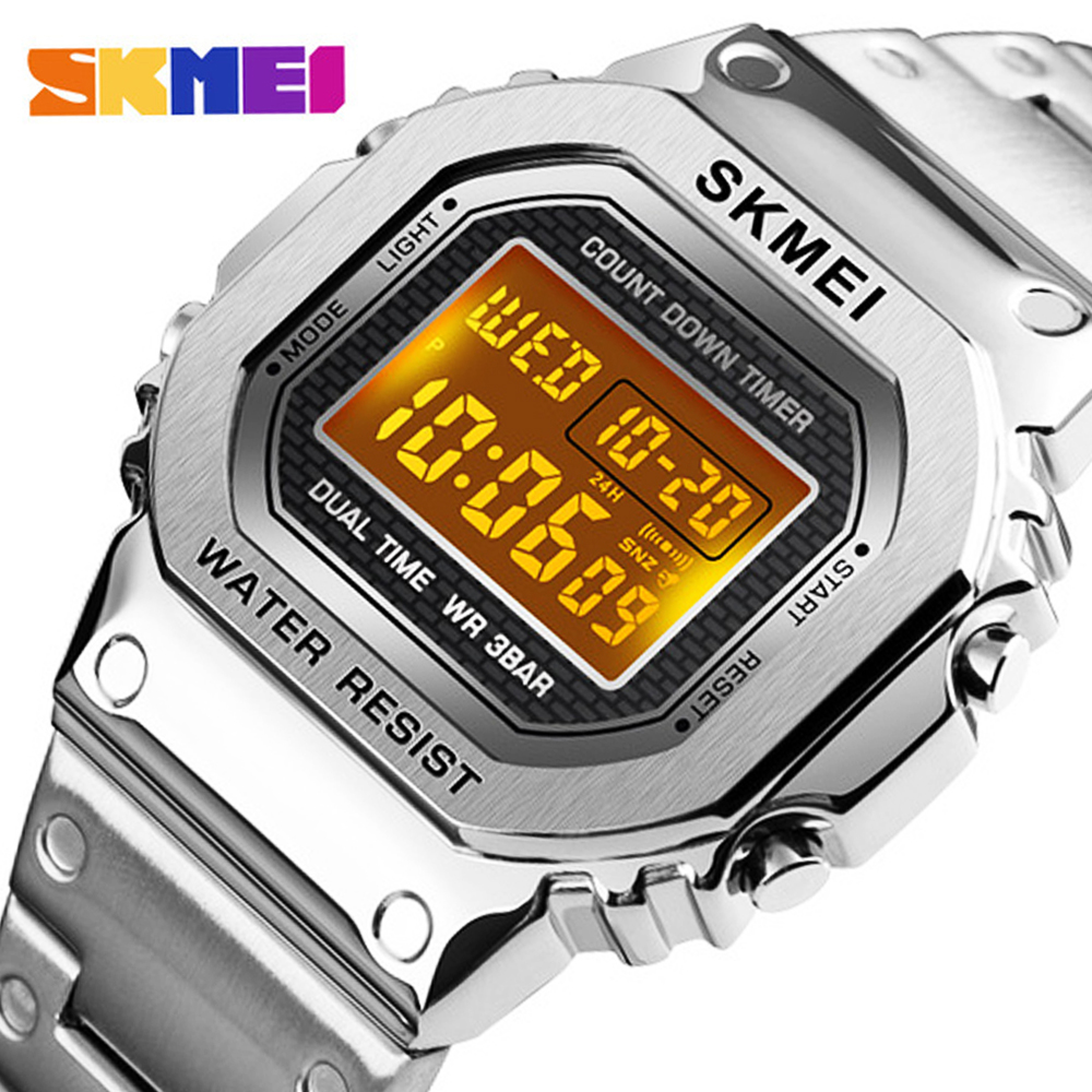 Top Brand <font><b>SKMEI</b></font> Stainless Steel Men's Watch Outdoor Sport Wristwatch Alarm Clock Countdown Digital Watch For Men reloj hombre image