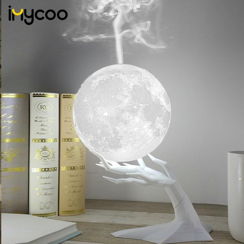 880ML Ultrasonic Moon Air Humidifier Aroma Essential Oil Diffuser With LED Night Lamp USB Mist Maker Humidificador  Drop Ship