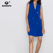 ROHOPO Double Buttons Women Sleeveless Long Blue Outwear Notched Straight Office Ladies Autumn Vest #	2355