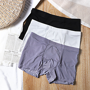 Male Panties Light Soft Men's Underwear Boxers Breathable Man Ice Silk Sexy U Convex Boxer Solid Underpants Comfortable Shorts