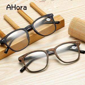 Ahora Square Imitation Wood Reading Glasses For Women&Men Clear Lens Presbyopia Eyeglasses Hyperopia Eyewear+1.0+1.5+2.0...+4.0