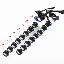 2.5X 4X 6X 8X 10X 15X 20X 25X Multi Power Doppie Luci A LED Lente di Ingrandimento Degli Occhi Occhiali di Riparazione Della Vigilanza di Ingrandimento gioielliere Lente di Ingrandimento