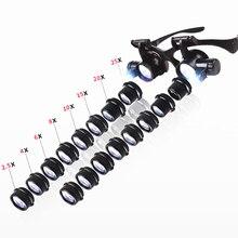 2.5X 4X 6X 8X 10X 15X 20X 25X ダブルledライト拡大鏡メガネ時計修理ルーペ宝石商拡大鏡ガラス