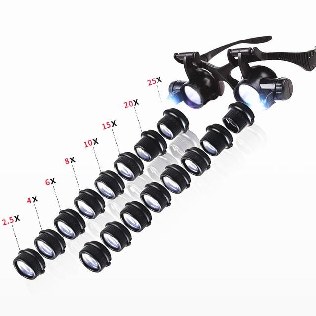 Loupe multipuissance 2.5X 4X 6X 8X 10X 15X 20X 25X Double LED lumières, Loupe de réparation de montre, Loupe bijoutier