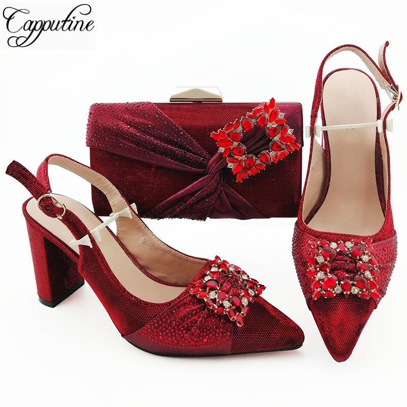 Superbe mariage/fête printemps/automne chaussures et pochette ensemble avec pierres de cristal QSL011 vin, hauteur de talon 9cm
