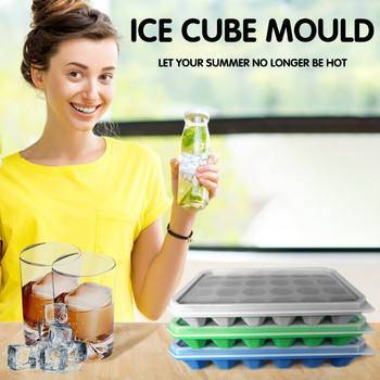 Silicone Ice Cube 24 Cavity Ice Tray Box With Lid Cover Bar Drink Jelly Freezer Mold Mould Summer Home Ice Maker image