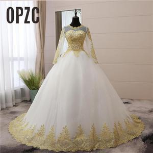 Image 1 - 빈티지 골드 레이스 Appliques 자수 아가 화이트 블루 레드 전체 슬리브 패션 이슬람 웨딩 드레스 신부 플러스 사이즈 75