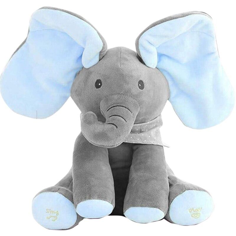 30 cm de pelúcia peekaboo elefante falando brinquedo elétrico esconder e procurar boneca elefante brinquedo elétrico pelúcia boneca para o bebê