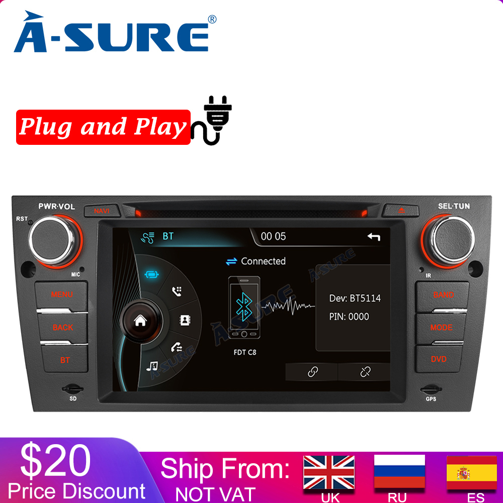 A-Sure Car Multimedia 1 Din Car AutoRadio GPS DVD Player Stereo Navigation For BMW E90 E91 E92 E93 Navi 318 <font><b>320</b></font> 325 330 330 3er image